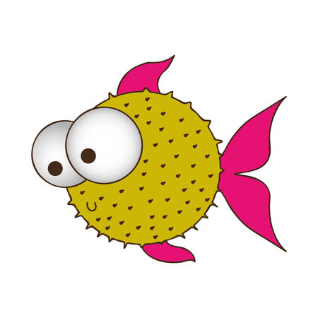 big clown fish: silhouette color of blowfish with big eyes vector illustration Illustration