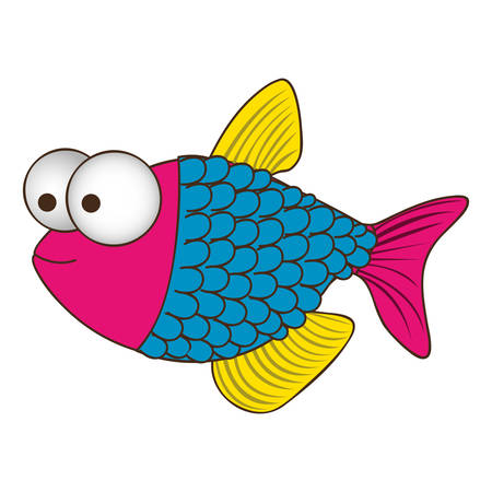 big clown fish: color silhouette of fish with big eyes and scales vector illustration