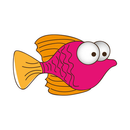 big clown fish: color silhouette of small fish with big eyes vector illustration Illustration