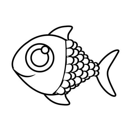 big clown fish: monochrome silhouette of fish with big eye vector illustration Illustration