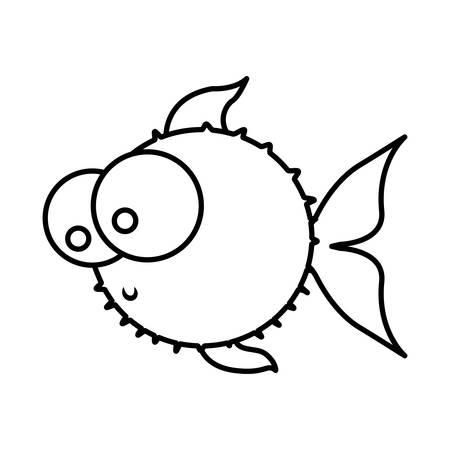 silueta monocromática de pez globo con grandes ojos ilustración vectorial Vectores