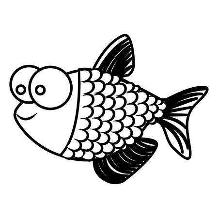 big clown fish: monochrome silhouette of fish with big eyes and scales vector illustration Illustration