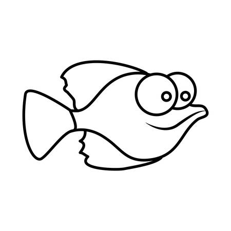 big clown fish: monochrome silhouette of small fish with big eyes vector illustration