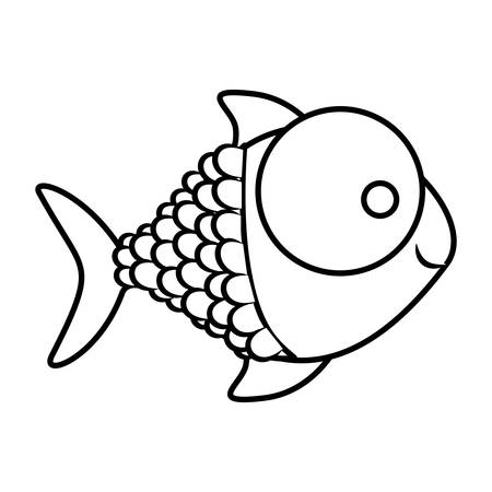 scale icon: monochrome silhouette of fish with big eye and scales vector illustration