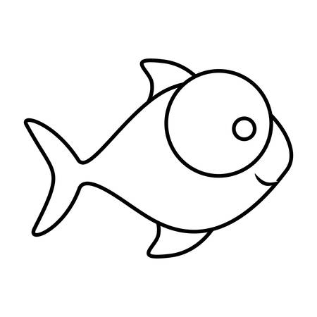 big clown fish: monochrome silhouette of fish with big eye and small pupil vector illustration