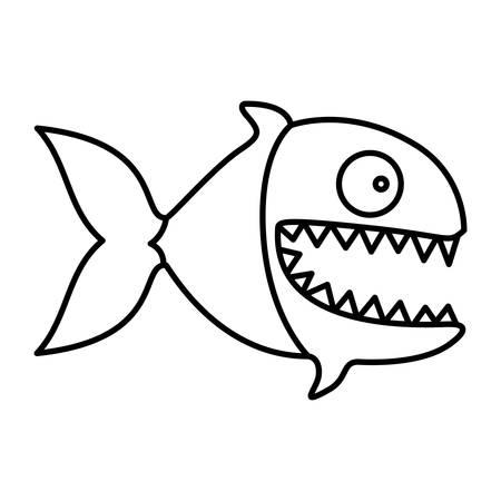 monochrome silhouette of piranha with big teeths vector illustration