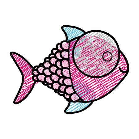 catfish: color pencil drawing of fish with big eye and scales vector illustration
