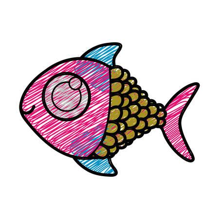 big clown fish: color pencil drawing of fish with big eye vector illustration