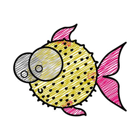 big clown fish: color pencil drawing of blowfish with big eyes vector illustration Illustration