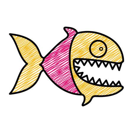 color pencil drawing of piranha with big teeths vector illustration Illustration
