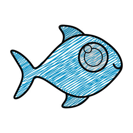 color pencil drawing of fish without scales vector illustration