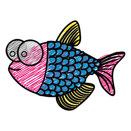 color pencil drawing of fish with big eyes and scales vector