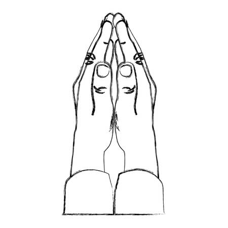 monochrome sketch of hands in position of pray in side view vector illustration Illustration