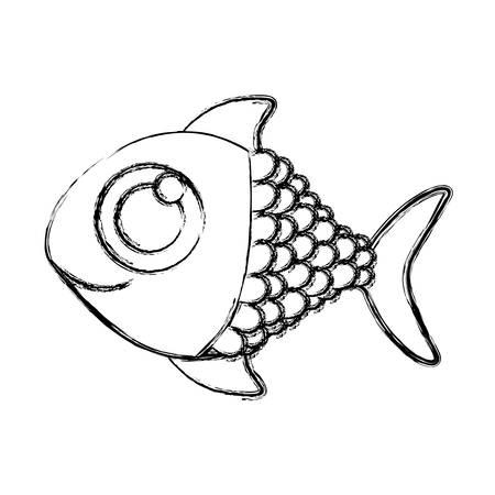 big clown fish: monochrome sketch of fish with big eye vector illustration