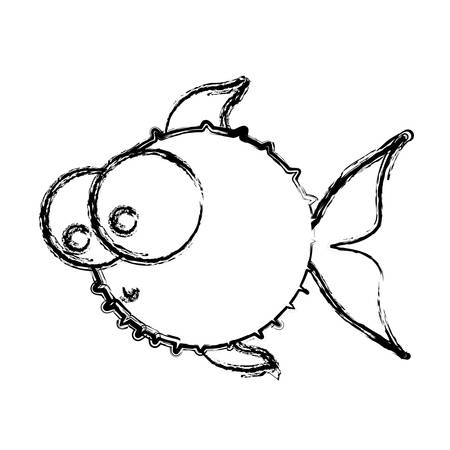 pez globo: monochrome sketch of blowfish with big eyes vector illustration
