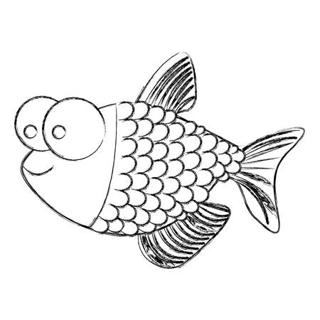 big clown fish: monochrome sketch of fish with big eyes and scales vector illustration