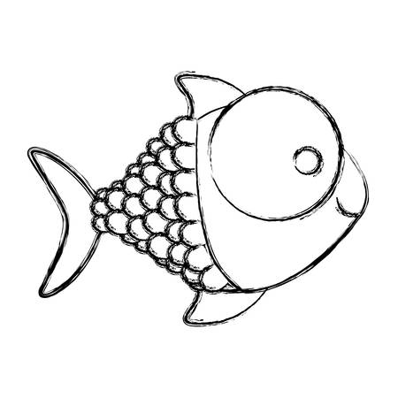 big clown fish: monochrome sketch of fish with big eye and scales vector illustration Illustration