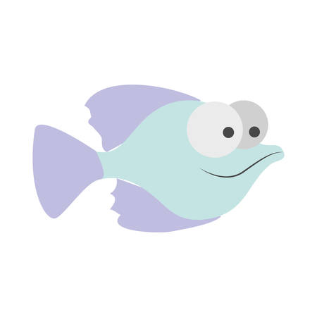 big clown fish: light colours silhouette of small fish with big eyes vector illustration