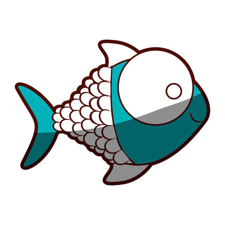 big clown fish: silhouette color blue of fish with big eye vector illustration