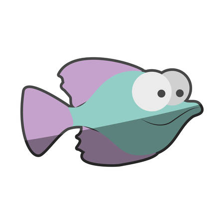 big clown fish: silhouette multicolor pastel of small fish with big eyes vector illustration