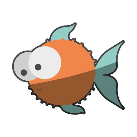 big clown fish: silhouette multicolor pastel of blowfish with big eyes vector illustration