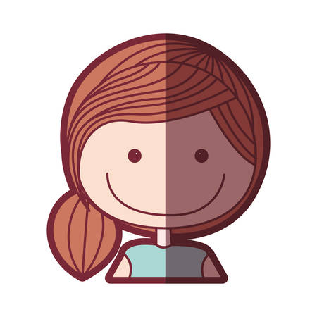 color silhouette shading cartoon half body girl with collected hairstyle vector illustration Illustration