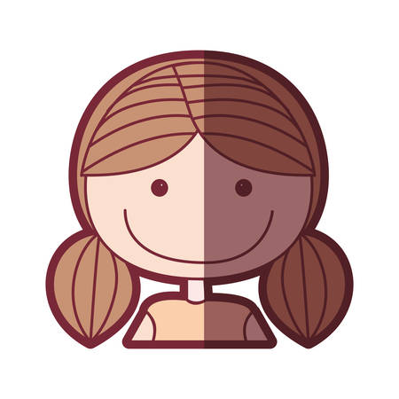 color silhouette shading cartoon half body girl with brown pigtails hair vector illustration