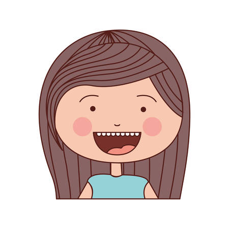 teeths: color silhouette smile expression cartoon half body girl with stripe brown hair vector illustration