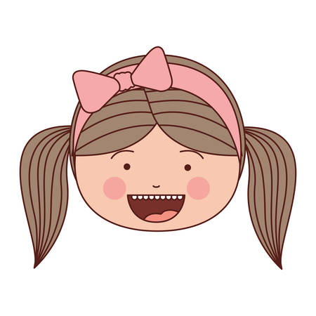 color silhouette smile expression cartoon front face girl with pigtails and pink bow lace hair vector illustration