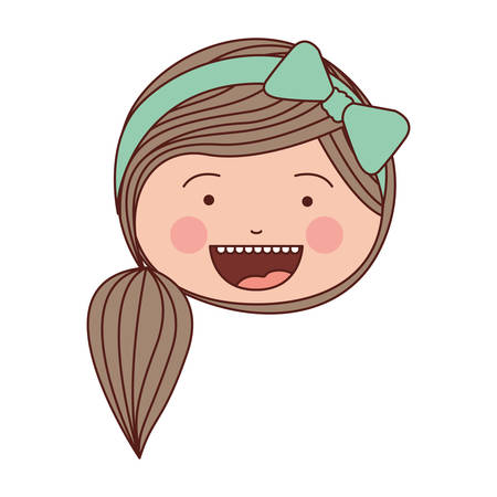 color silhouette smile expression cartoon front face woman with side ponytail hair and bow lace vector illustration