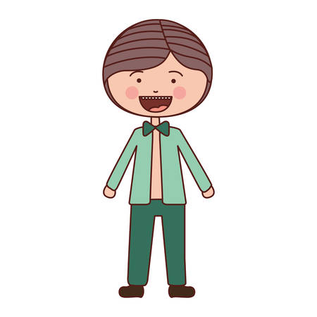 color silhouette smile expression cartoon guy with jacket and pants vector illustration Illustration
