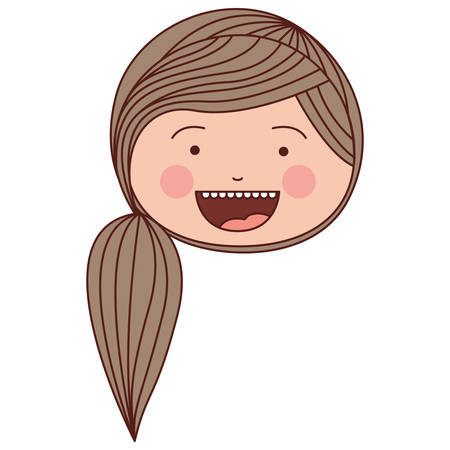teeths: color silhouette smile expression cartoon front face woman with side striped ponytail hair vector illustration