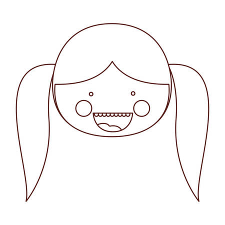 teeths: sketch contour smile expression cartoon front face girl with pigtail hair vector illustration