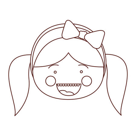 sketch contour smile expression cartoon front face girl with pigtails and bow lace hair vector illustration Illustration