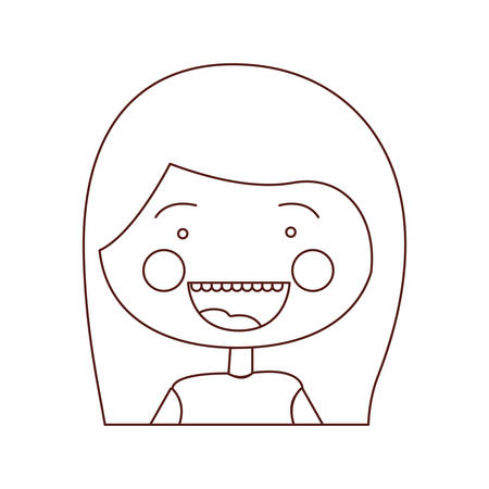 teeths: sketch contour smile expression cartoon half body girl with medium hair vector illustration Illustration