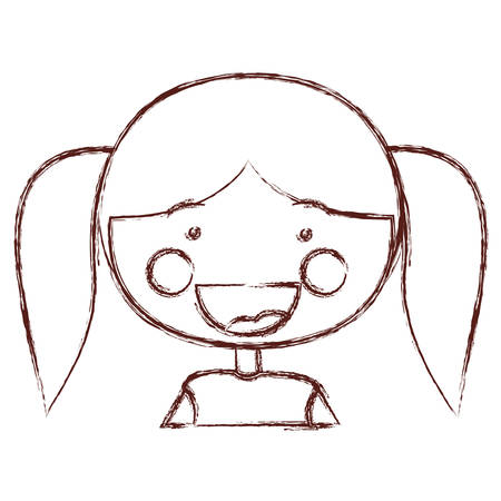 blurred contour smile expression cartoon half body girl with long pigtails hairstyle vector illustration