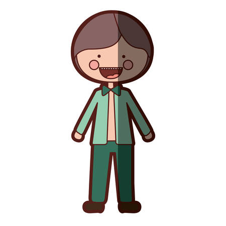 color silhouette shading smile expression cartoon guy with jacket and pants vector illustration Illustration