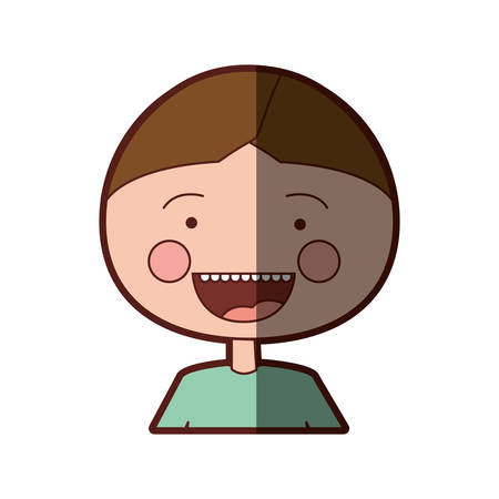 teeths: color silhouette shading smile expression cartoon half body boy with t-shirt vector illustration