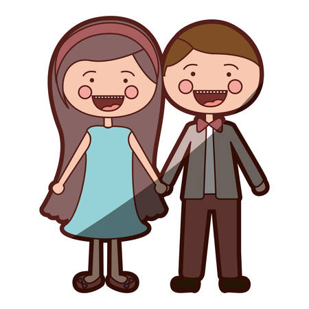 teeths: color silhouette shading smile expression cartoon couple in suit formal with taken hands vector illustration