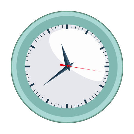 silhouette contour: colorful silhouette with wall clock in aquamarine contour vector illustration
