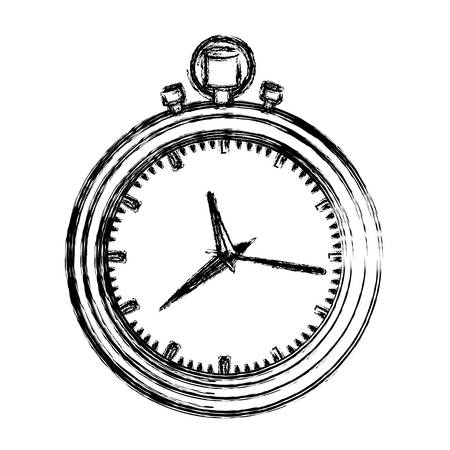 monochrome blurred silhouette with black stopwatch vector illustration Illustration