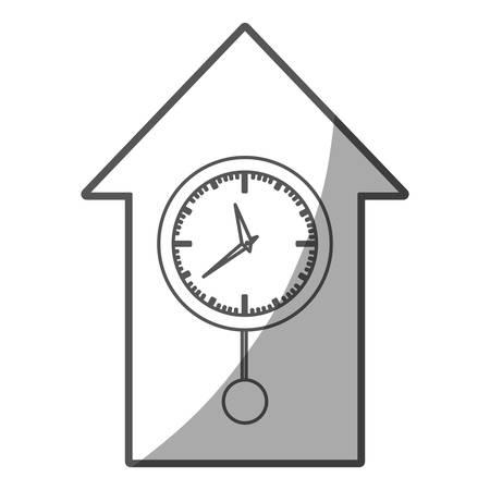 pendulum: grayscale silhouette of cuckoo clock vector illustration Illustration