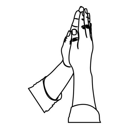 frontal view: monochrome silhouette of hands in position of pray in frontal view vector illustration