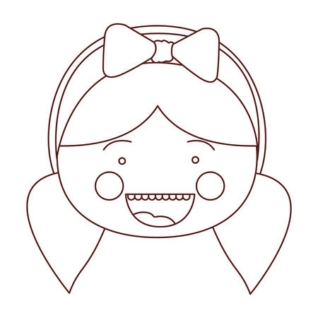 teeths: Sketch contour smile expression cartoon front face girl with pigtails and bow lace hair vector illustration Illustration