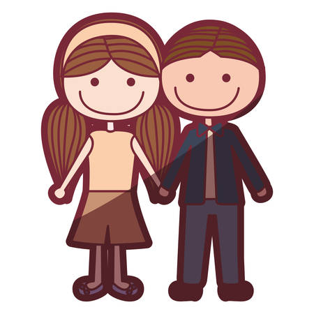 brown haired girl: Colored illustration of brown haired boy and girl in pigtails. Illustration