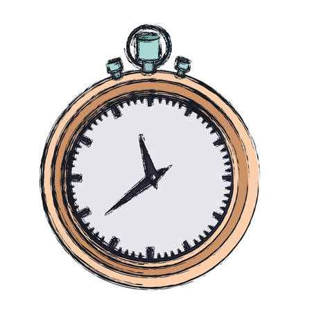 hand drawing color graphic of stopwatch with thick contour vector illustration Illustration