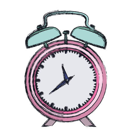 hand drawing color pink alarm clock and thick contour vector illustration