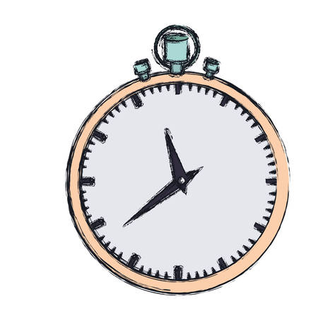 hand drawing color graphic of simple stopwatch vector illustration
