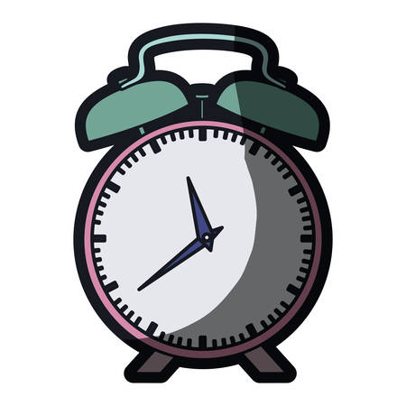 realistic colorful silhouette with pink alarm clock and thick contour vector illustration