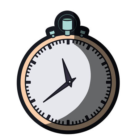 realistic color graphic of simple stopwatch and thick contour vector illustration